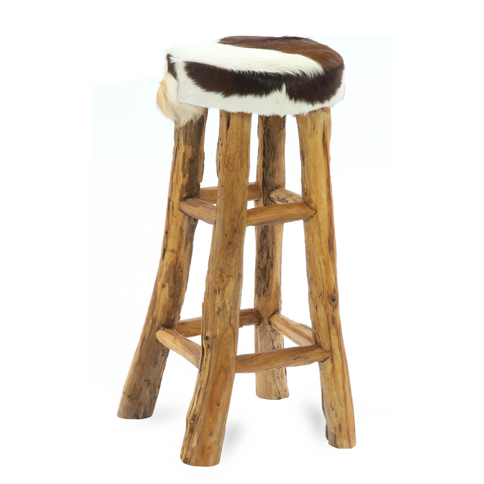 Cowhide Bar Stool Log Legs 183 Reclaimed Teak Root And