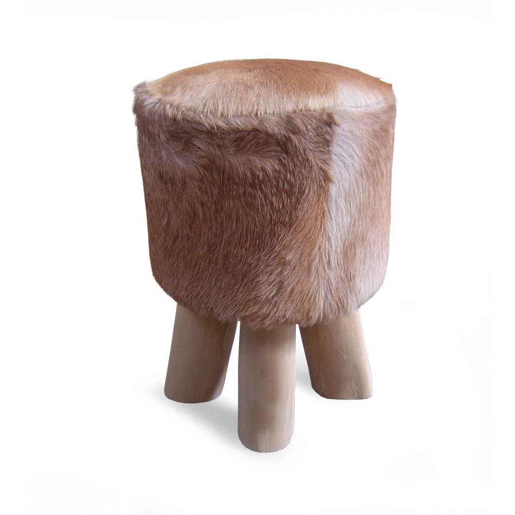 Cowhide Barstools Vintage Black White Hairhide Leather Bar: Goat Hide Round Stool · Reclaimed Teak Root And Recycled