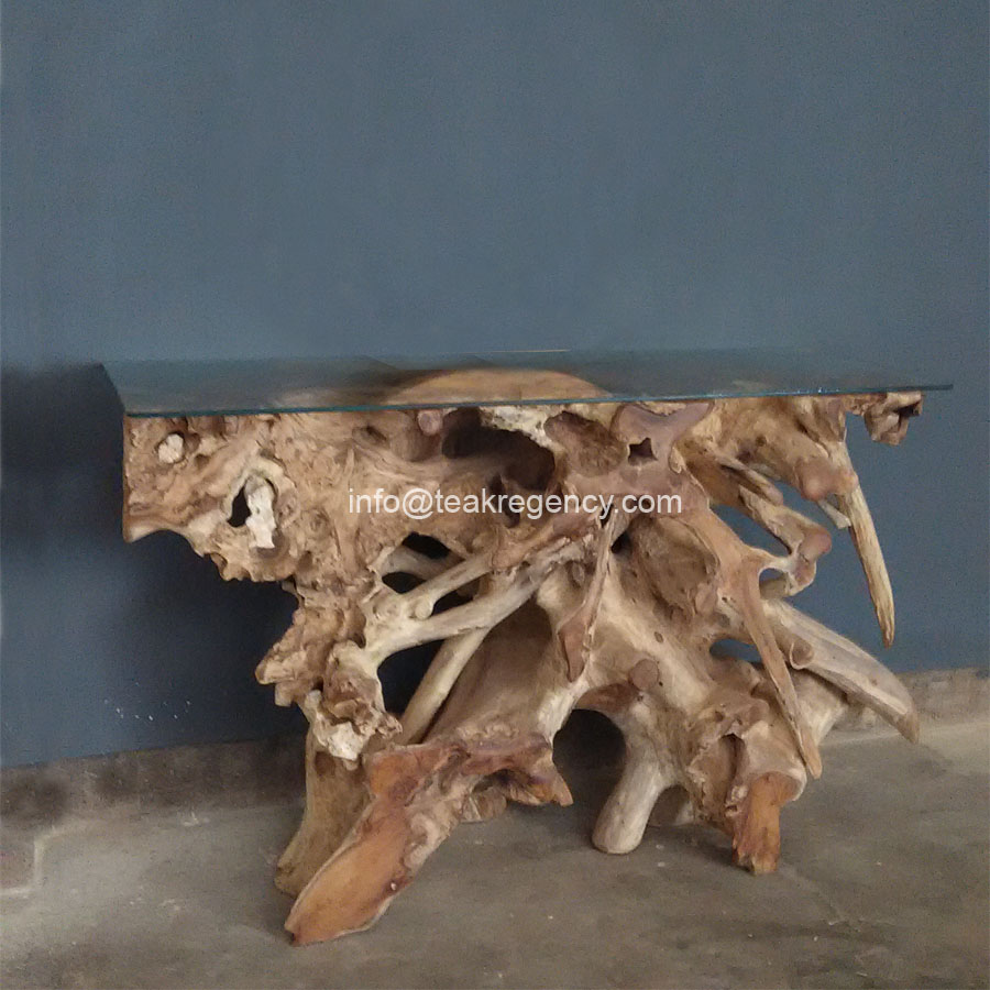 Teak Root Console Table 183 Reclaimed Teak Root And Recycled
