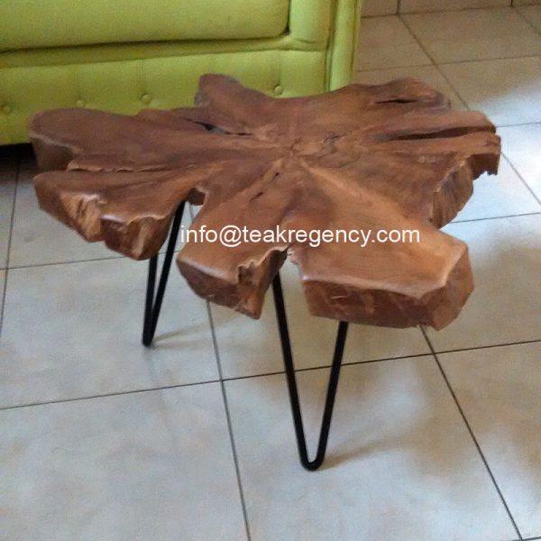Teak Root Coffee Table Square: Live Edge Teak Wood Slab Table Desk · Reclaimed Teak Root